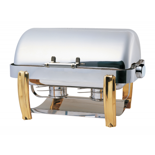 Deluxe Oblong Roll Top Chafing Dish / Brass Legs